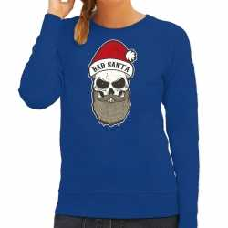 Bad santa foute kerstsweater / outfit blauw carnaval dames