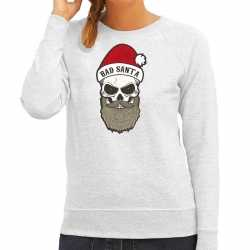Bad santa foute kerstsweater / outfit grijs carnaval dames