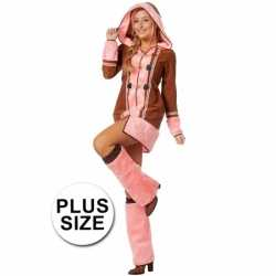 Carnaval dames eskimo outfit bruin/roze
