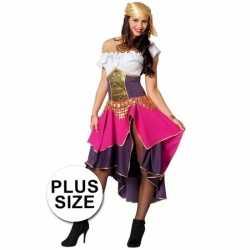 Carnaval dames zigeunerin outfit paars/roze