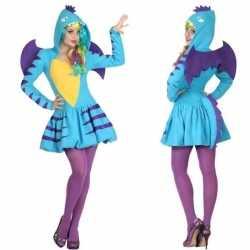 Carnaval/feest blauwe draak verkleed outfit carnaval dames
