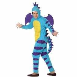 Carnaval/feest blauwe draak verkleed outfit carnaval volwassenen