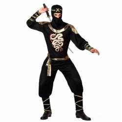 Carnaval/feest ninja verkleedoutfit zwart/goud carnaval volwassenen