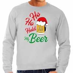 Carnaval ho ho hold my beer fout kersttrui / outfit grijs carnaval heren
