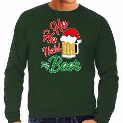Carnaval ho ho hold my beer fout kersttrui / outfit groen carnaval heren