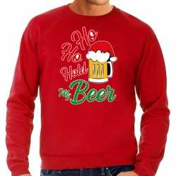 Carnaval ho ho hold my beer fout kersttrui / outfit rood carnaval heren