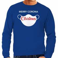 Carnaval merry corona christmas foute kersttrui / outfit blauw carnaval heren