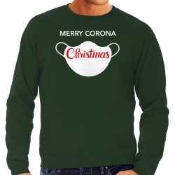 Carnaval merry corona christmas foute kersttrui / outfit groen carnaval heren