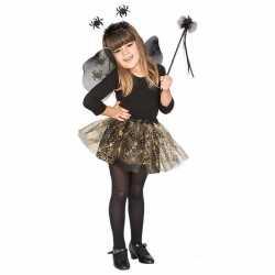 Carnavals outfit zwarte spinnen heksen set carnaval meisjes