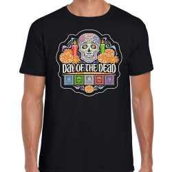 Day of the dead / dagde doden halloween verkleed t shirt / outfit zwart carnaval heren