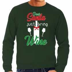 Dear santa just bring wine drank kerstsweater / outfit groen carnaval heren