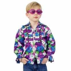 Disco bloemen blouse carnaval kinderen
