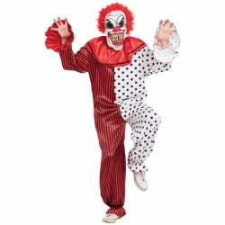 Evil clown complete outfit rood/wit