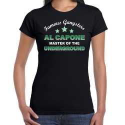Famous gangsters al capone tekst verkleed t shirt / outfit zwart dames