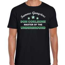 Famous gangsters don corleone tekst verkleed t shirt / outfit zwart heren