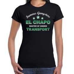 Famous gangsters el chapo tekst verkleed t shirt / outfit zwart dames