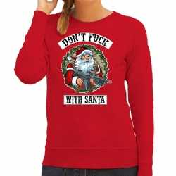 Foute kerstsweater / outfit dont fuck with santa rood carnaval dames