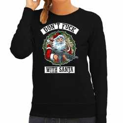 Foute kerstsweater / outfit dont fuck with santa zwart carnaval dames