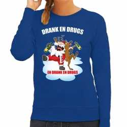 Foute kerstsweater / outfit drankdrugs blauw carnaval dames
