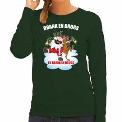 Foute kerstsweater / outfit drankdrugs groen carnaval dames