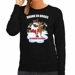 Foute kerstsweater / outfit drankdrugs zwart carnaval dames