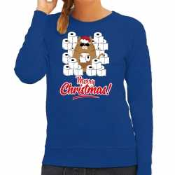 Foute kerstsweater / outfithamsterende kat merry christmas blauw carnaval dames