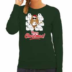 Foute kerstsweater / outfithamsterende kat merry christmas groen carnaval dames
