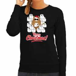 Foute kerstsweater / outfithamsterende kat merry christmas zwart carnaval dames