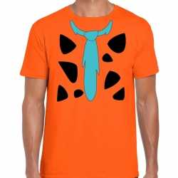 Fred holbewoner outfit t shirt oranje carnaval heren