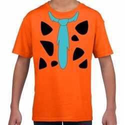 Fred holbewoner outfit t shirt oranje carnaval kinderen