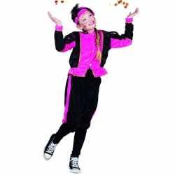 Fuchsia zwarte pieten outfit carnaval kinderen