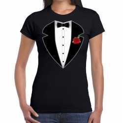 Gangster / maffia pak outfit t shirt zwart carnaval dames