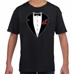 Gangster / maffia pak outfit t shirt zwart carnaval kinderen