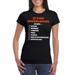 Halloween halloween outfit lijstje t shirt zwart dames