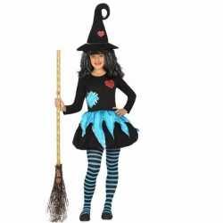 Heksen outfit blauw/zwart carnaval kinderen