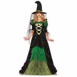 Heksen outfit groenzwart