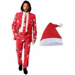 Heren oppooutfits kerst outfit roodkerstmuts maat 48 (m)