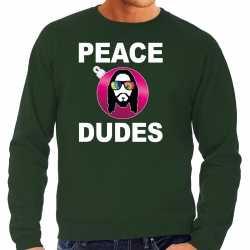 Hippie jezus kerstbal sweater / kerst outfit peace dudes groen carnaval heren