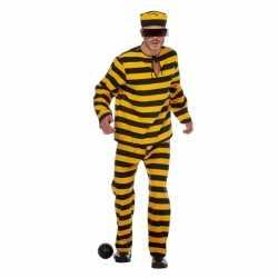 Inbreker outfit zwart/geel carnaval heren