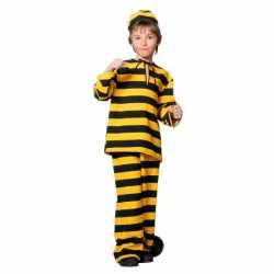 Inbreker outfit zwart/geel carnaval kinderen