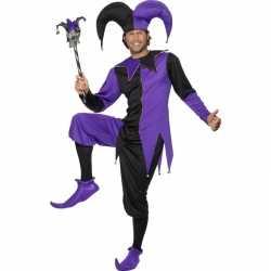 Joker outfit zwart/paars carnaval heren