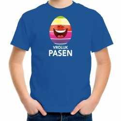 Lachend paasei vrolijk pasen t shirt blauw carnaval kinderen paas kleding / outfit