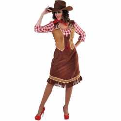 Lange cowgirl jurk outfitgeruite blouse carnaval dames