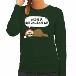 Luiaard kerstsweater / outfit wake me up when christmas is over groen carnaval dames