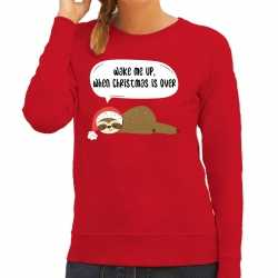 Luiaard kerstsweater / outfit wake me up when christmas is over rood carnaval dames