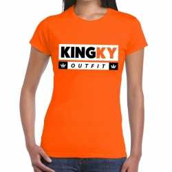 Oranje kingky outfit t shirt carnaval dames