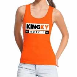 Oranje kingky outfit tanktop / mouwloos shirt carnaval dames