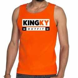 Oranje kingky outfit tanktop / mouwloos shirt carnaval he