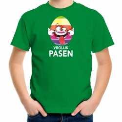 Paasei die tong uitsteekt vrolijk pasen t shirt groen carnaval kinderen paas kleding / outfit