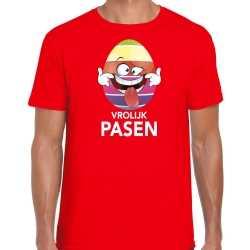 Paasei die tong uitsteekt vrolijk pasen t shirt rood carnaval heren paas kleding / outfit